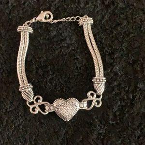 Lia Sophia silvertone Heart and cz Bracelet